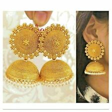 Indian Bollywood Gold Plated Jhumka Earrings Ethnic Fashion New Jewelry Set om