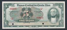 🇨🇷COSTA RICA SPECIMEN BANKNOTE • 5 COLONES • 1951-58 • SERIES A • ABNC • UNC •