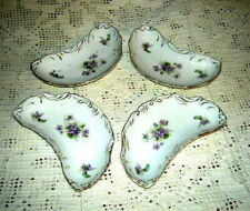Victorian Crescent Moon Side Bone Dish w/ Gilding & Violets (Set of 4) Antique