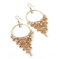 Ladies Womens Girls Gold Colour Bead Drop Costume Fashion Earring Size 9 Cm