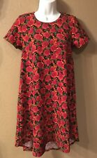 Lularoe ~Amazing~ Carly Dress vintage black red Disney Like roses UNICORN 🦄 XXS