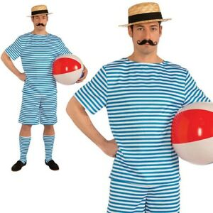 Mens Beachside Clyde Swimsuit Costume Adults 1920s Fancy Dress Outfit New