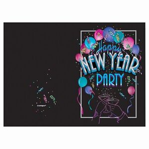 Happy New Year invitations with envelopes 8 pieces