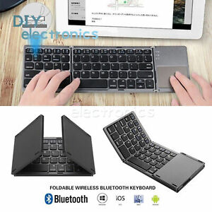 Bluetooth Keyboard Touchpad Foldable Tri-fold Wireless For iPad iPhone UK