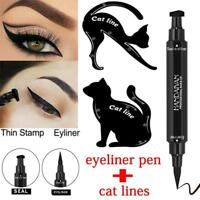 3Pcs Dual-ended Liquid Eyeliner Pen+Stamp Cat Eyeshadow Ruler Template Card