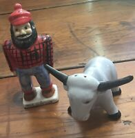 Paul Bunyan and Babe Salt and Pepper Shakers, Vintage Japan