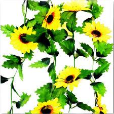 230cm Silk Sunflower Ivy Artificial Flower Leave Garden Fence Wind Hanging Decor