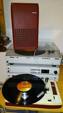 RED PHILIPS 22 GF 113 PORTABLE RECORD PLAYER BATTERY AND MAINS OPERATED