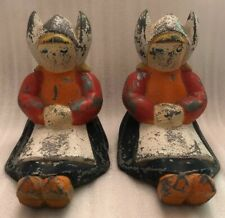 Pair Of Vintage 1940s Or 1950s Metal Seated Dutch Girl Figurines