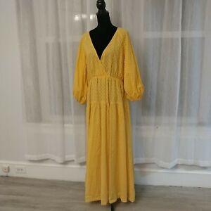Free People NWT Yellow Cotton Maxi Dress Retail 108.00 Women's Large Puff Sleeve