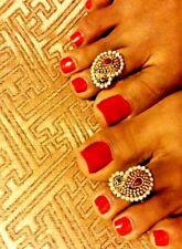 Indian Ethnic Bridal Pakistani Resizable Gold Plated Toe Ring Bollywood Jewelry