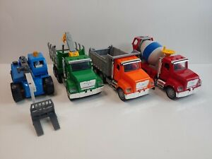 DRIVEN by BATTAT Lot of 4 Construction Vehicles (Logging/Cement/Trash Truck)
