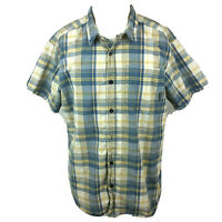 Columbia Shirt Mens Large Blue Plaid Short Sleeve Button Down Cotton Casual