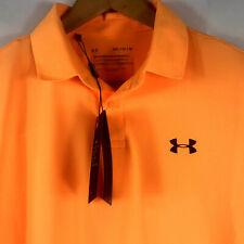 Men's Sz Medium Under Armour UA Performance Golf Polo Textured Orange 1342080