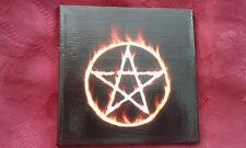 Flaming pentacle pentagram wicca Pagan Handmade Ceramic Tiles coaster altar