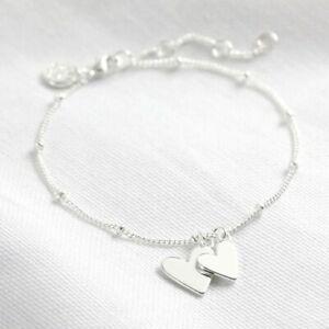 Silver Falling Heart Charms Bracelet