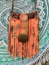 Handmade Autumn Orange Suede Fringe Bag Hippie Fall Festival OOAK Purse B.Joy