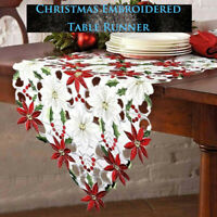 Christmas Embroidered Table Runner Home Poinsettia Holly Leaf Table Linens Decor