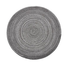 """14""""Grey Round Placemats Woven Heat Resistant Non-Slip Kitchen Table Mats Decor"""