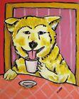 akita coffee  art print dog gift new 8.5x11 glossy photo impressionism