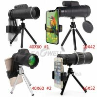 40X60 16X52 10X42 Zoom Optical Lens Monocular Telescope+Tripod For Samsung Phone