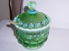 Green EAPG Opalescent Glass jam jelly Jar with Lid  pretty
