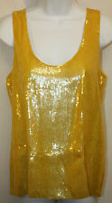 Womens Ladies Michael Kors Yellow Sequined Sleeveless Tank Top Size Small