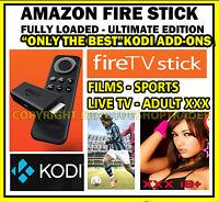 Ultimate Amazon Fire TV Stick Fully Loaded  KODI 16 Movies TV Sports Adult kids