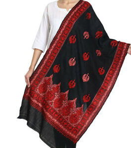 New Indian Black Woolen Kashmiri Embroidery Shawl/Stole/Wrap for Women