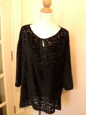 . blue illusion black burnout ? silk velvet tunic top and cami  as bought L
