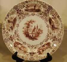 Staffordshire  Ridgway Marmora Burgundy Transfer Dinner Plate 1834-1854