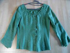 tolle Designer Bluse Carmenausschnitt Leinen Lochmuster grün Gr. S NEUw. BSU1215