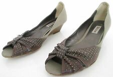 DUNE SIZE 3 WOMENS BROWN GREY PEEPTOES COURT SHOES PUMPS MID HEELS WEDGES STUDS