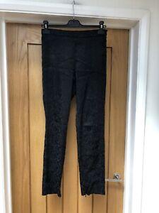 Ladies Zara Black Slim Leg Satin Brocade Style Trousers Size S