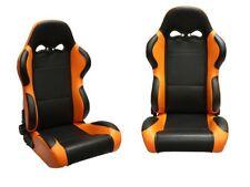1 Paar Klappbare Sportsitze - Leder Schwarz Orange