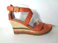 SPERRY TOP SIDER 8.5M Burnt Orange Leather Espadrille Wedge Heel Sandals Shoes