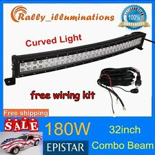 32IN 180W CURVED LED WORK LIGHT BAR COMBO OFFROAD UTE 10-30V + 1PC WIRE KIT RALL