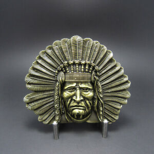 Bronze Indian Chief Head Western Indian Metal Fashion Belt Buckle