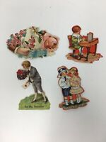 Victorian Die Cut Small Valentine Cards Lot of 4 Antique Early