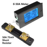 Digital 50A LCD Volt Watt Current Power Meter Ammeter Voltmeter Meter+Shunt