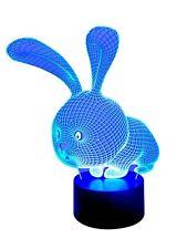 3D LED-Lampe niedlicher Hase mehrfarbige Nachtischlampe Wohnlicht Farbwechselleu