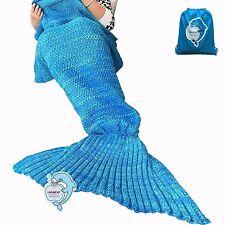 Laghcat Mermaid Tail Blanket Hand Crocheted For Adult Summer Super Soft Fleece