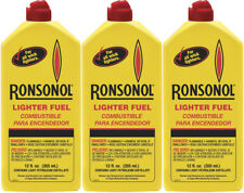 3 Bottles Ronsonol Lighter Fuel 12 Ounces Bottle Best For All Wick-Type Lighters