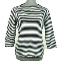 Kate Spade Saturday sz M Black & White Striped 3/4 Sleeve Cotton Boat Neck Top