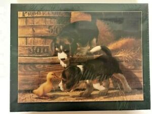 """Bits and Pieces Puppies & Baby Duck 550 Piece 18"""" x 24"""" Puzzle Sealed Box"""