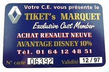 CARTE RENAULT SPECIAL PARTNER DISNEYLAND PARIS / 1997