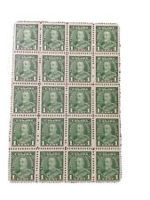 1935 sheet of 20 Canadian King George V one cent stamps just found