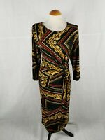 Ladies Dress Size 14 F&F Black Red Stretch Ruched Party Evening Occasion
