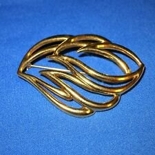"""by 1.75"""" Classic Look Vintage Monet Pin Gold-tone metal swirly leaf look 2.5"""""""