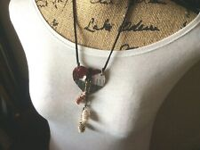 heted Gift Pouch! Americana Leather Heart/RiverRocks Pendant/Necklace/New/Croc
